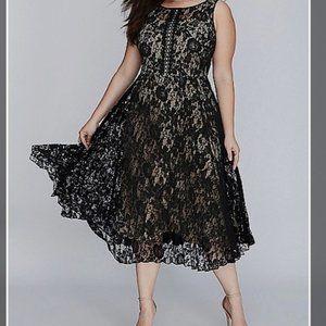 Lane Bryant 28W Black Lace Overlay Party Dress